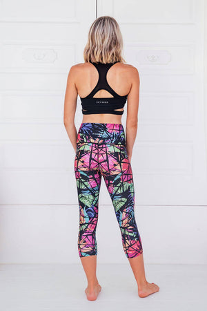 Tropical - High waist capri tights - Macaw Activewear