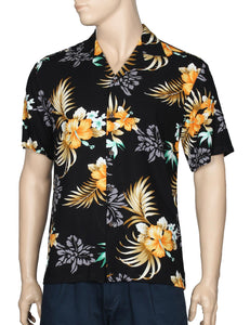 Birds of Paradise Hawaii Rayon Shirt Black