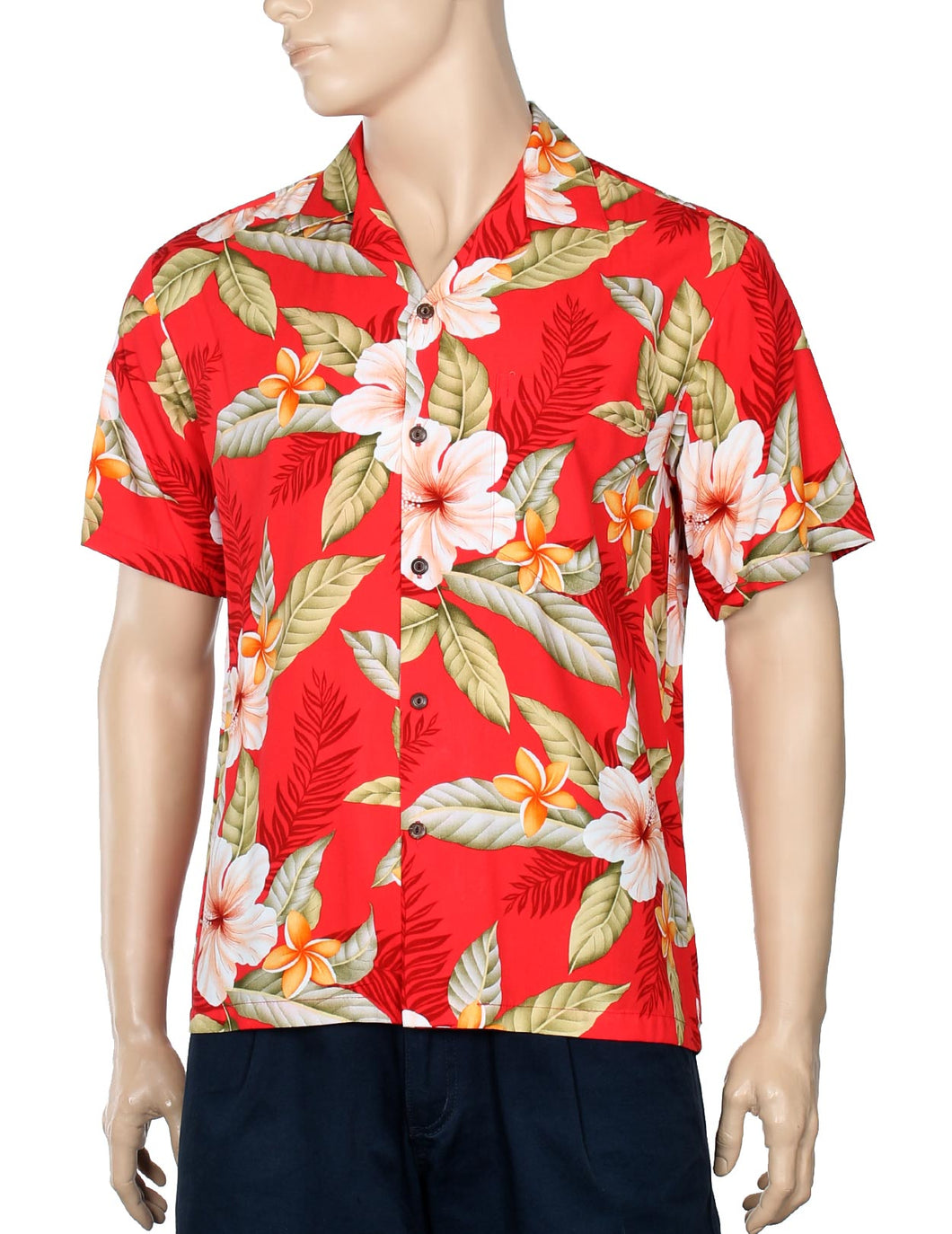 Men Hawaii Shirt Ula Ula Hibiscus Red