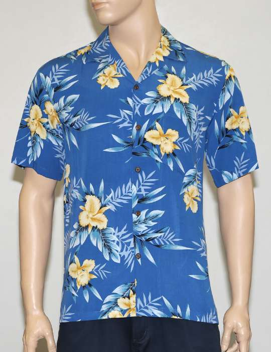 Men Aloha Blue Shirt in Rayon Okalani