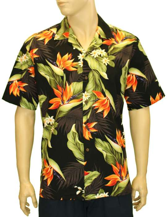 Birds of Paradise Tropical Aloha Shirt Black