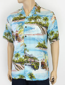 Hana Hou Men's Tropical Hawaii Rayon Shirt Blue