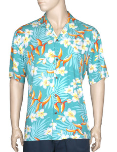 Bird of Plumeria Hawaiian Shirt Green