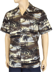 Island Sunset Paradise Hawaii Aloha Shirt Khaki