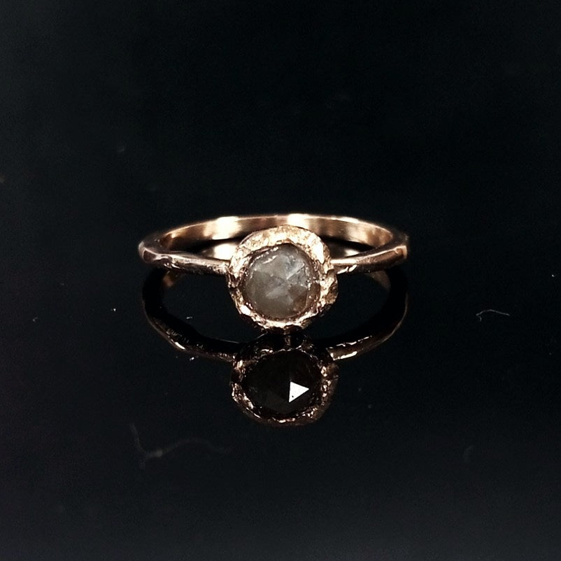 Rose cut natural diamond ring