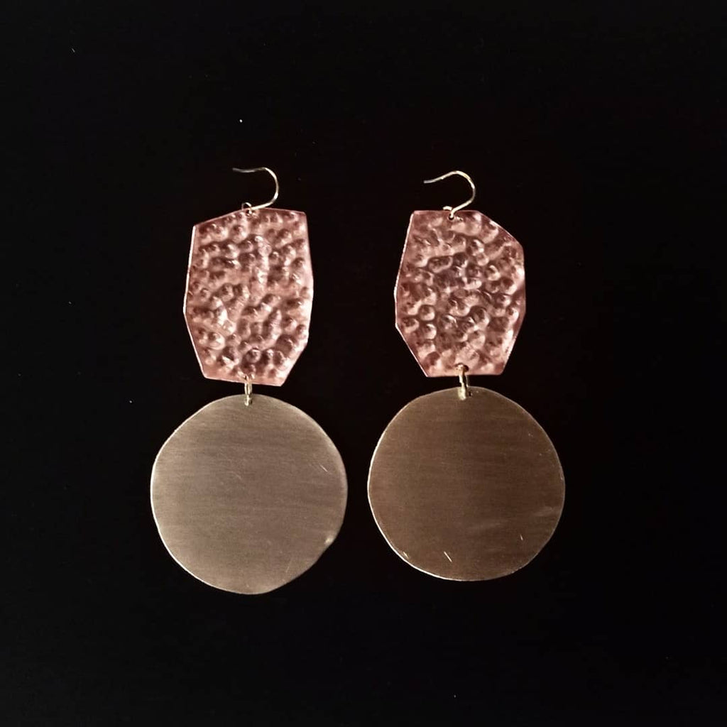 brass and copper bi-color earrings