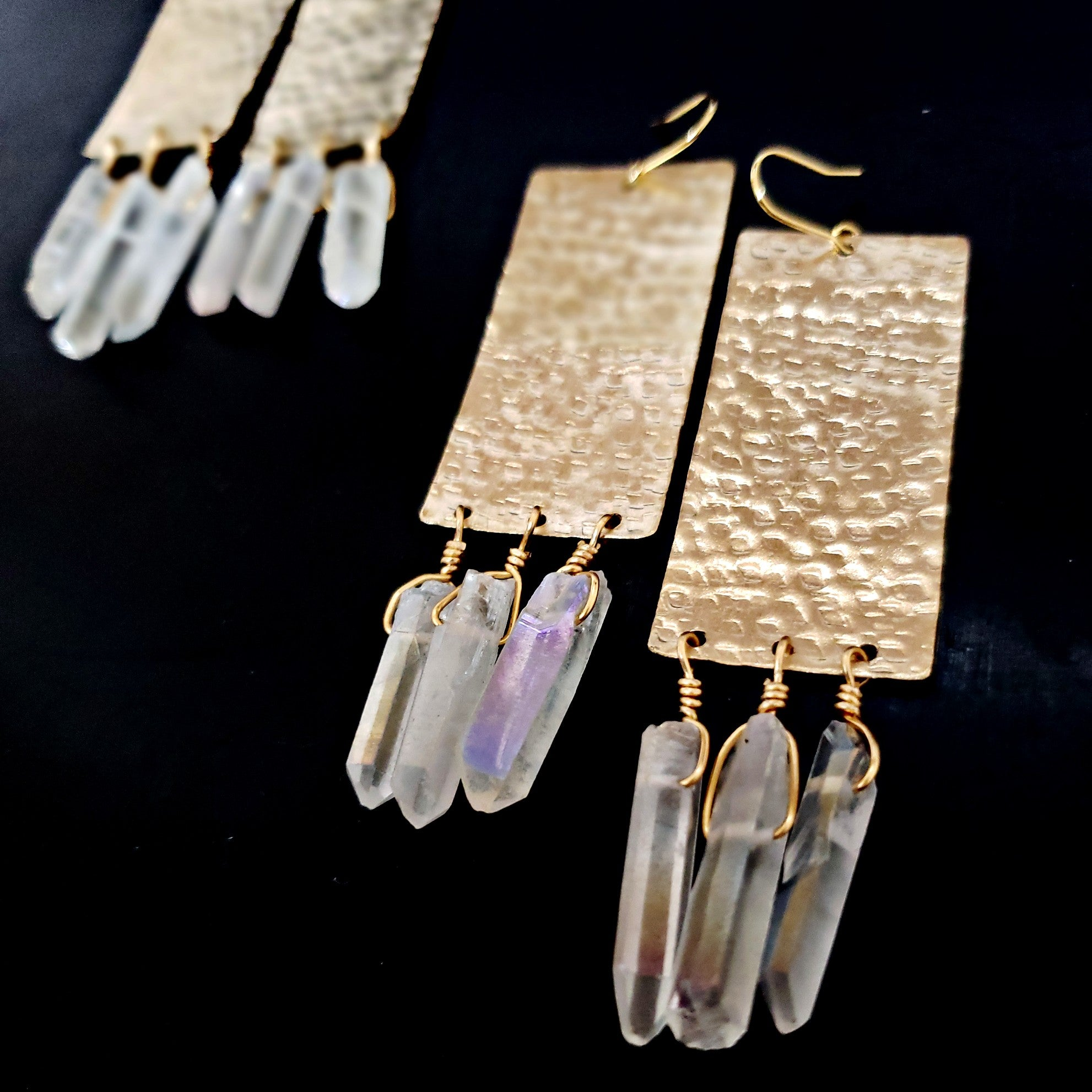 Rectangle brass and aura quartz earrings