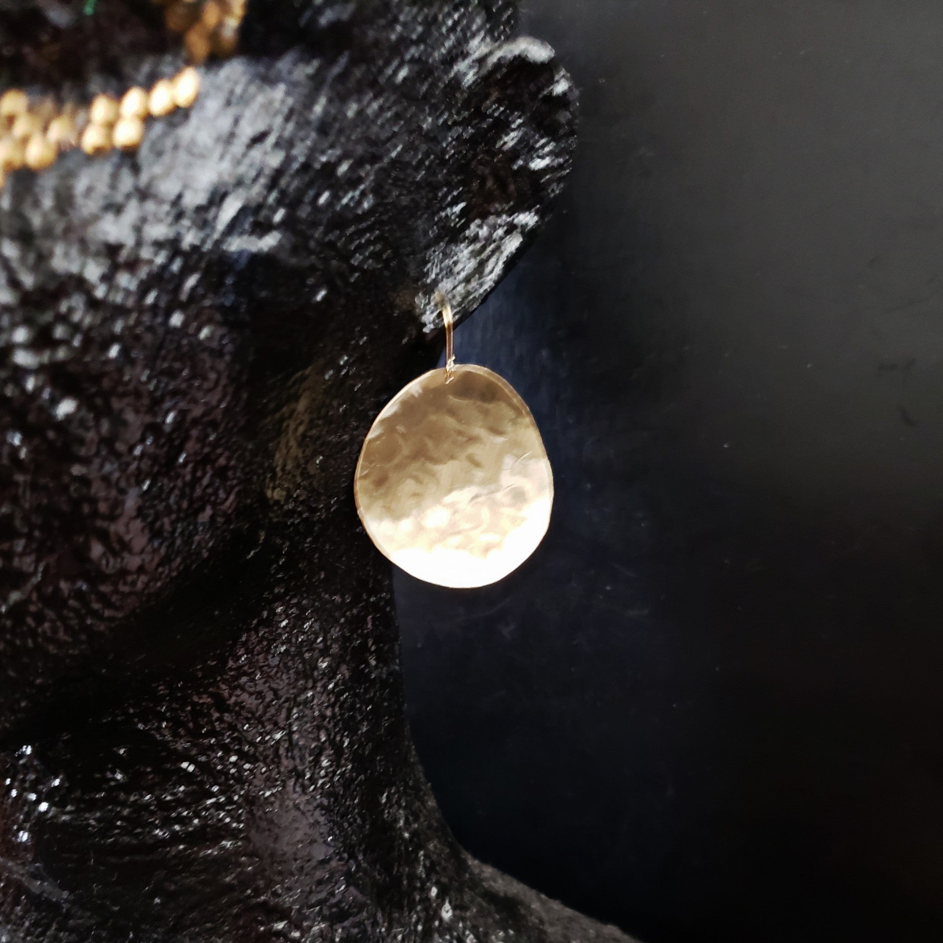 brass disc soft textured earrings