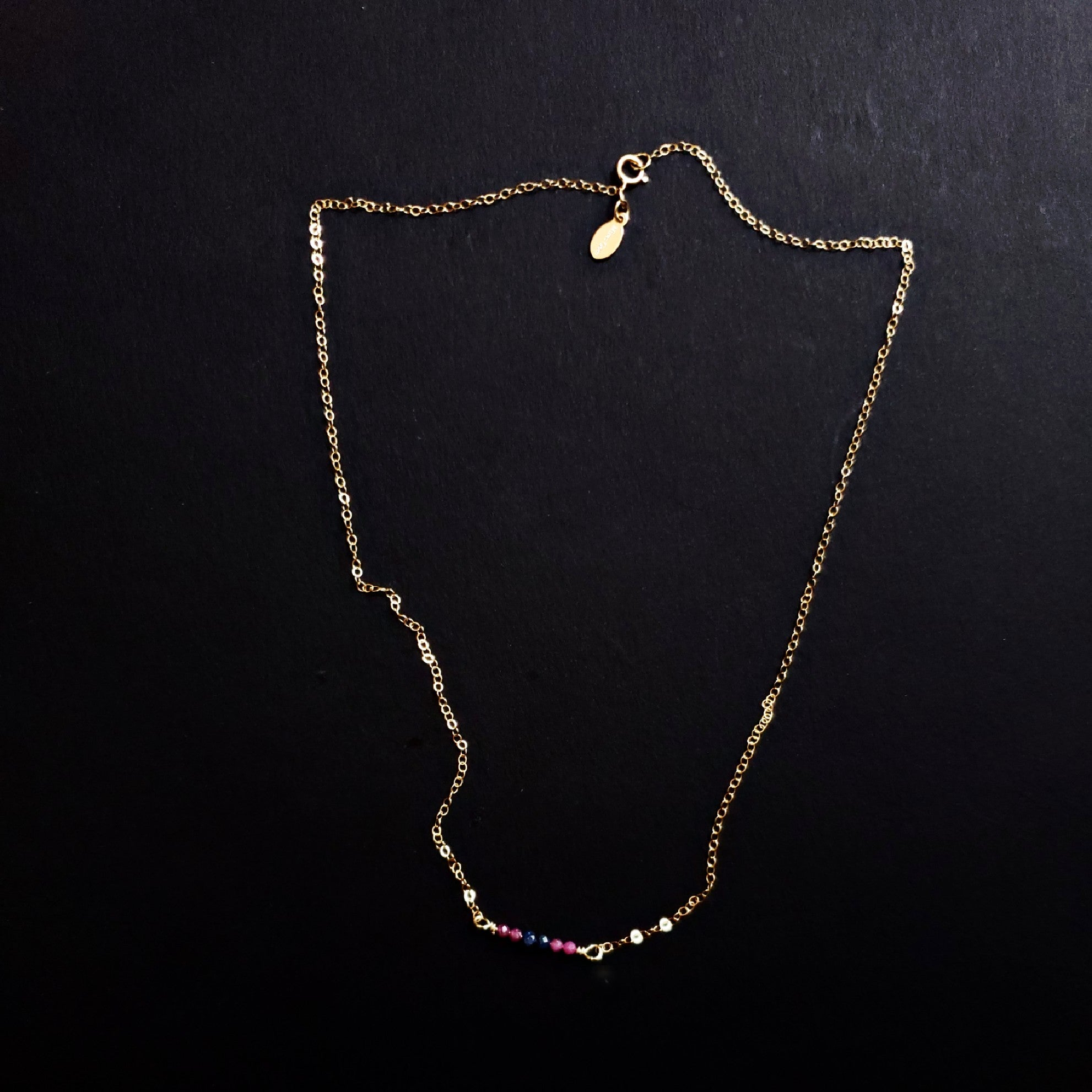 Ruby and Sapphire simple necklace