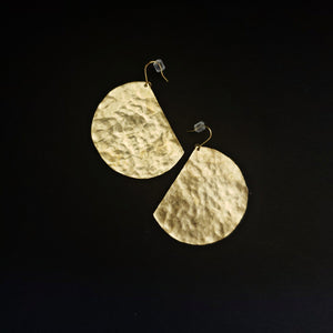 brass moon circle earrings