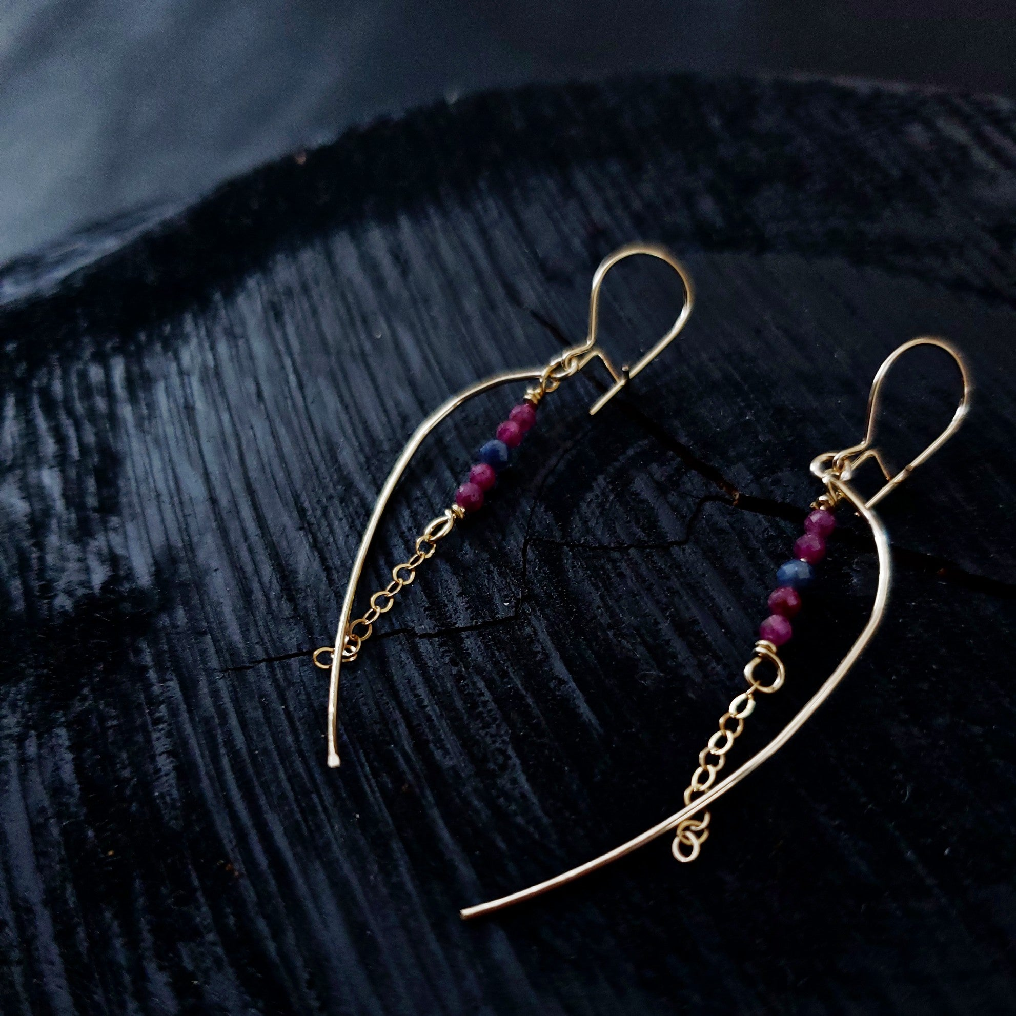Ruby and Sapphire simple earrings