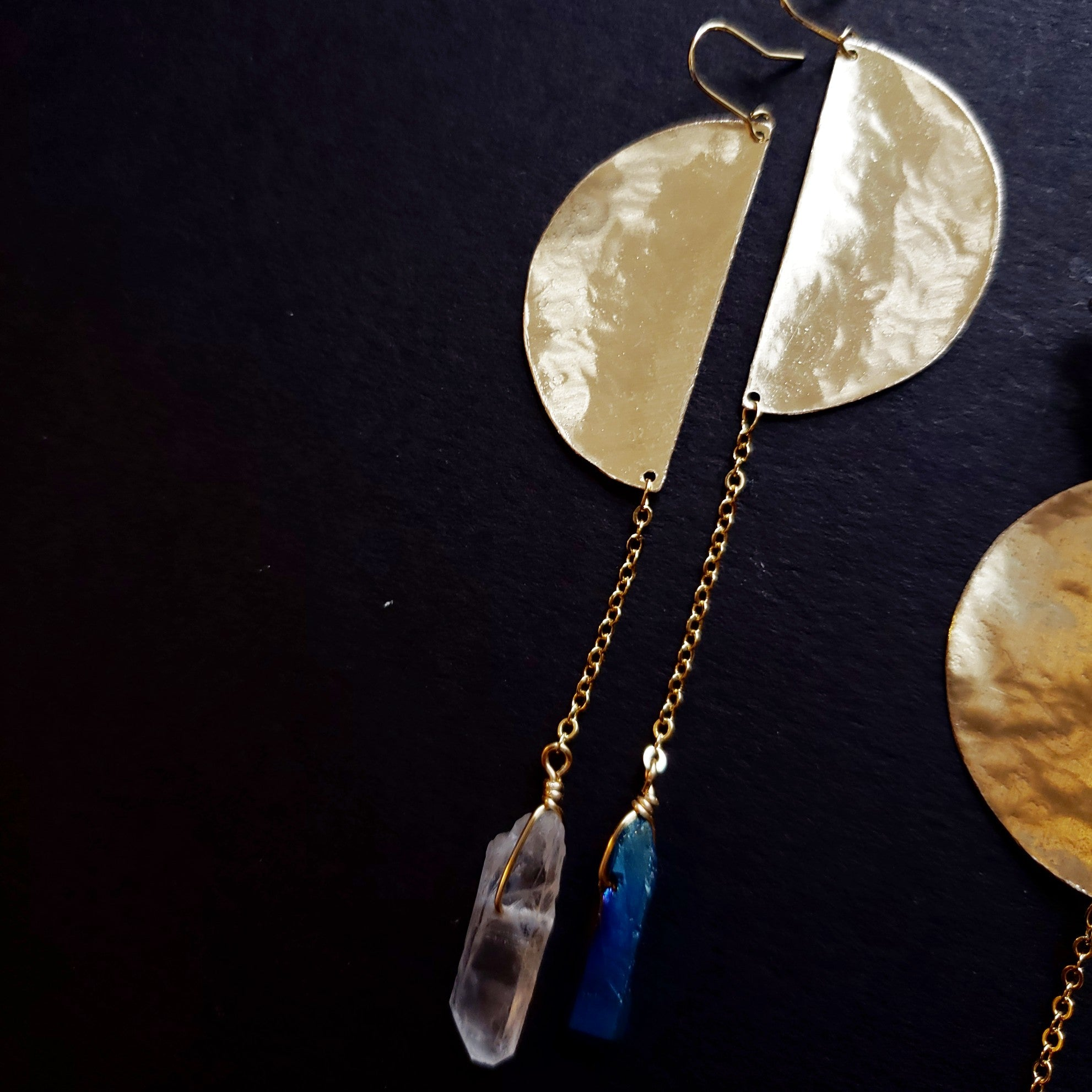 brass half moon and quartz earrings