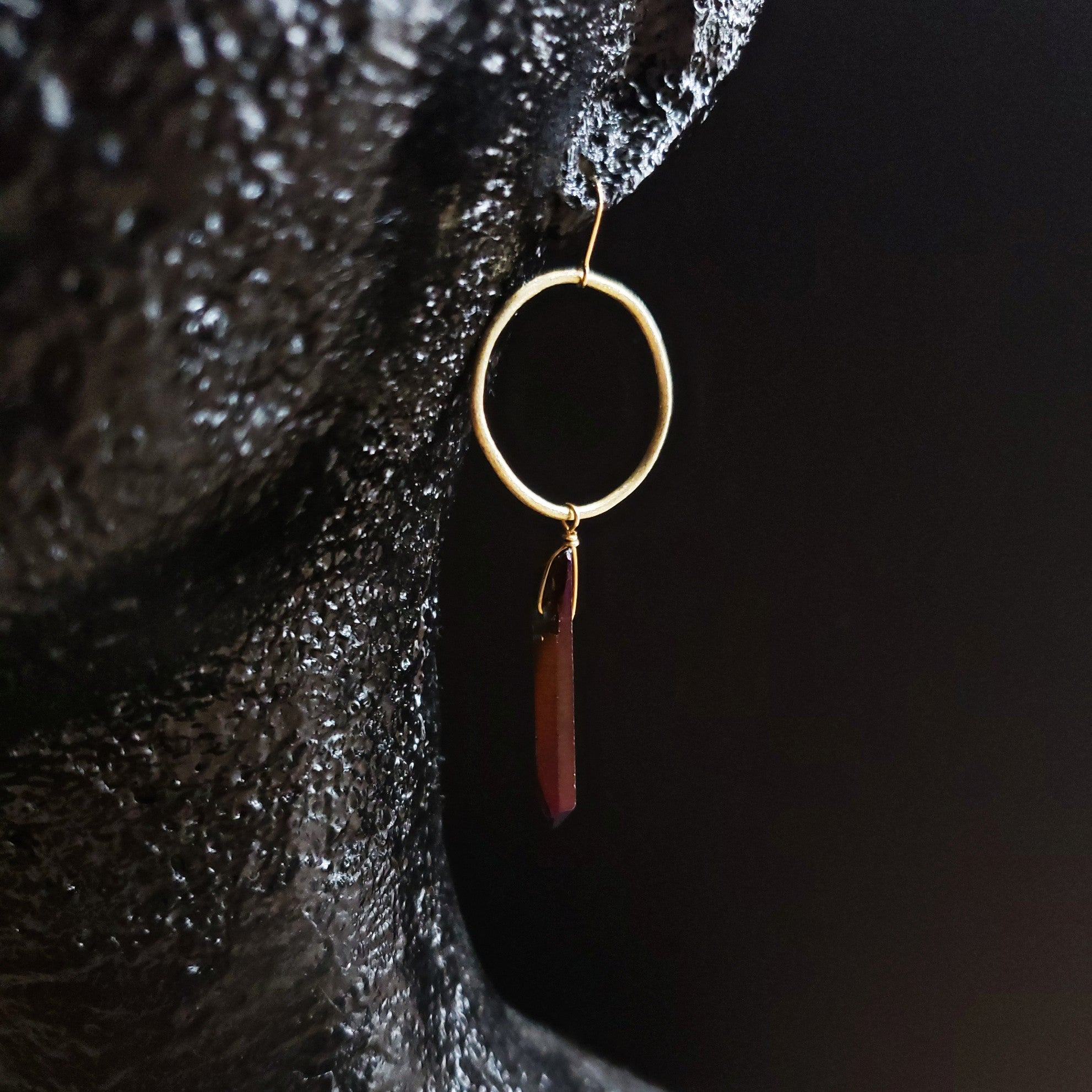 brass circle and quartz asymmetric earrings