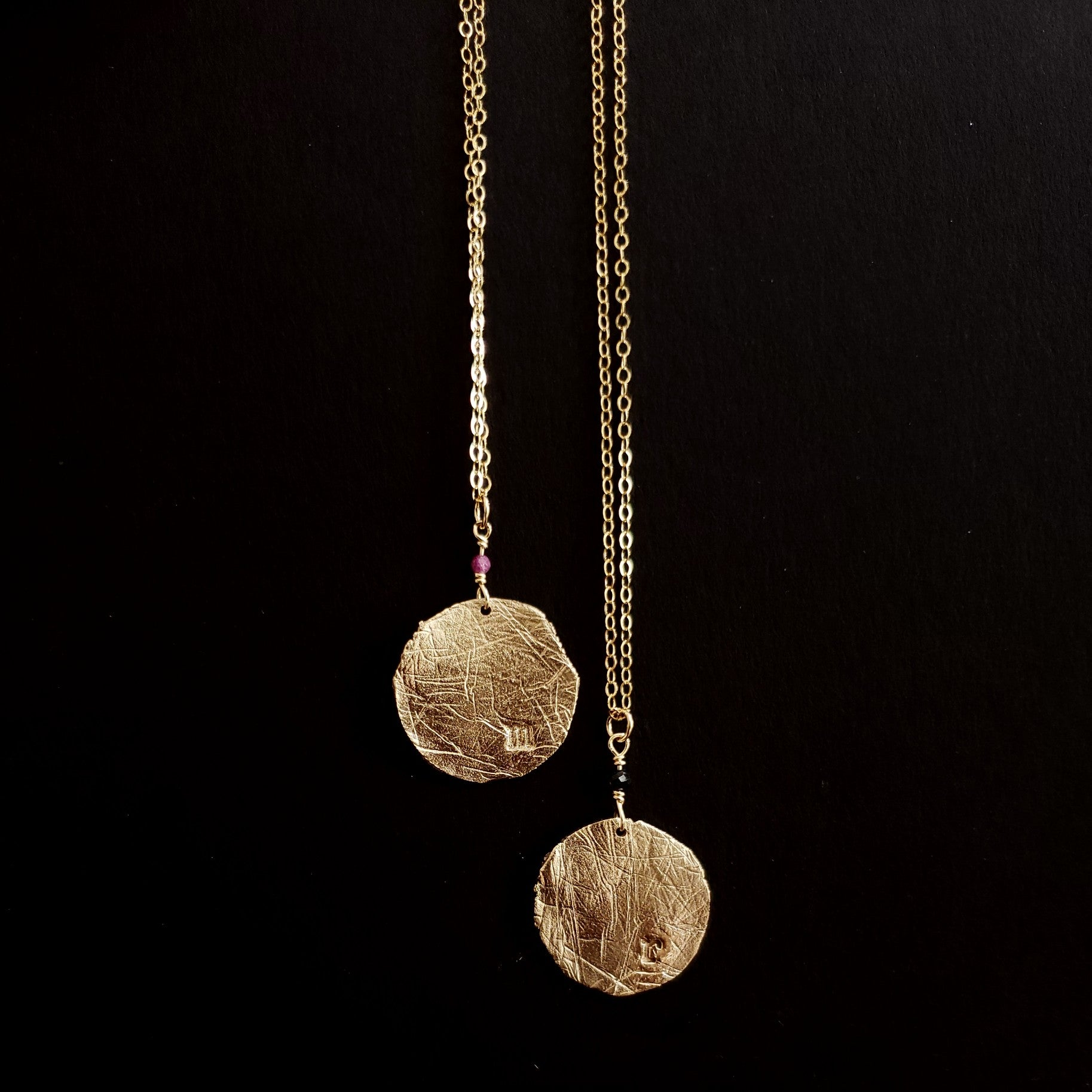 Bronze initial coin necklace