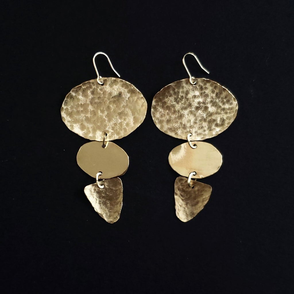 Hand textured statement earrings