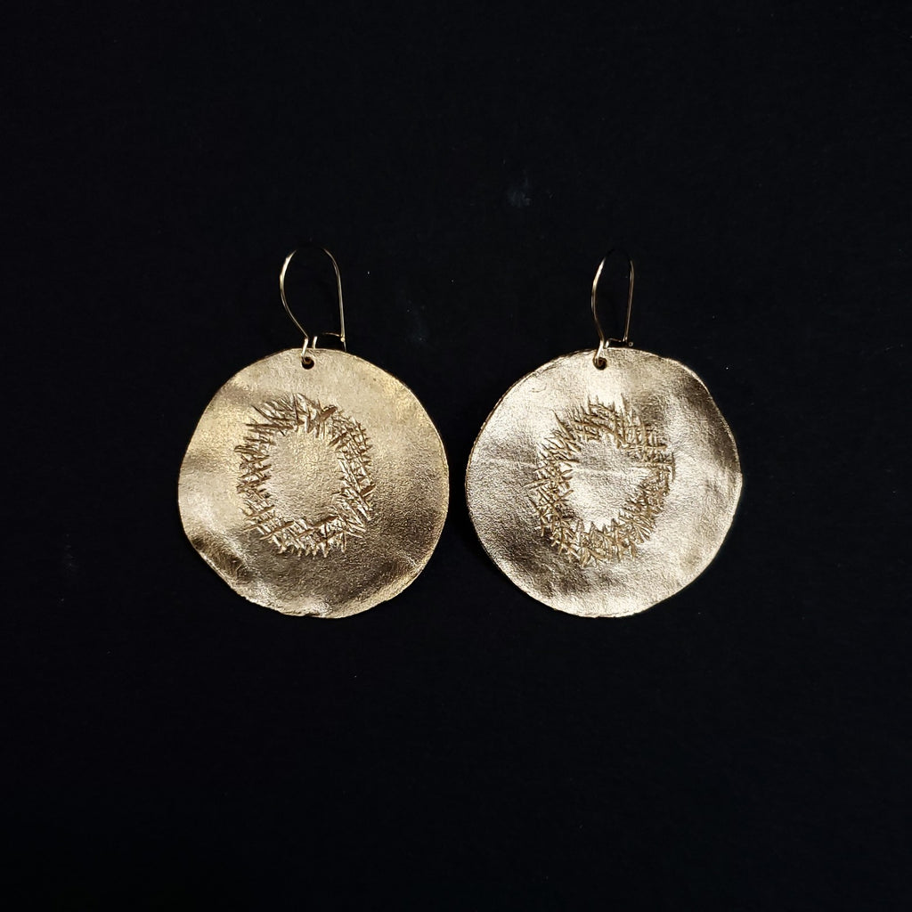 Bronze dry kiwi slice earrings
