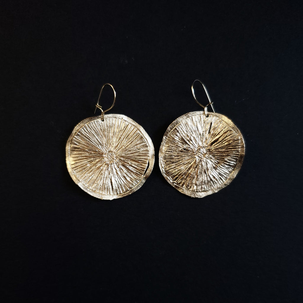 Bronze dry lime slice earrings