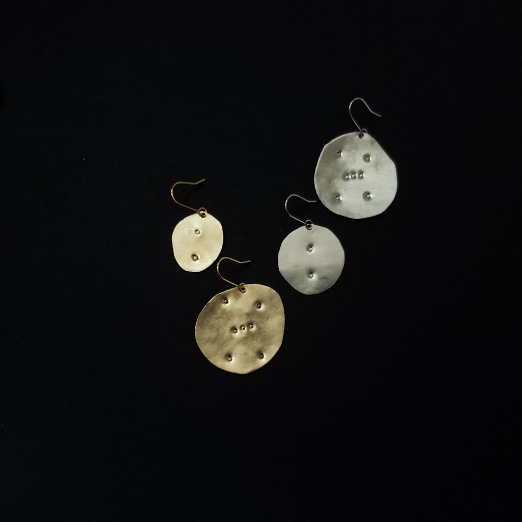 asymmetric winter stars earrings
