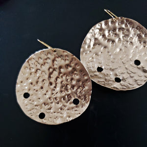brass disc asymmetric holes earrings