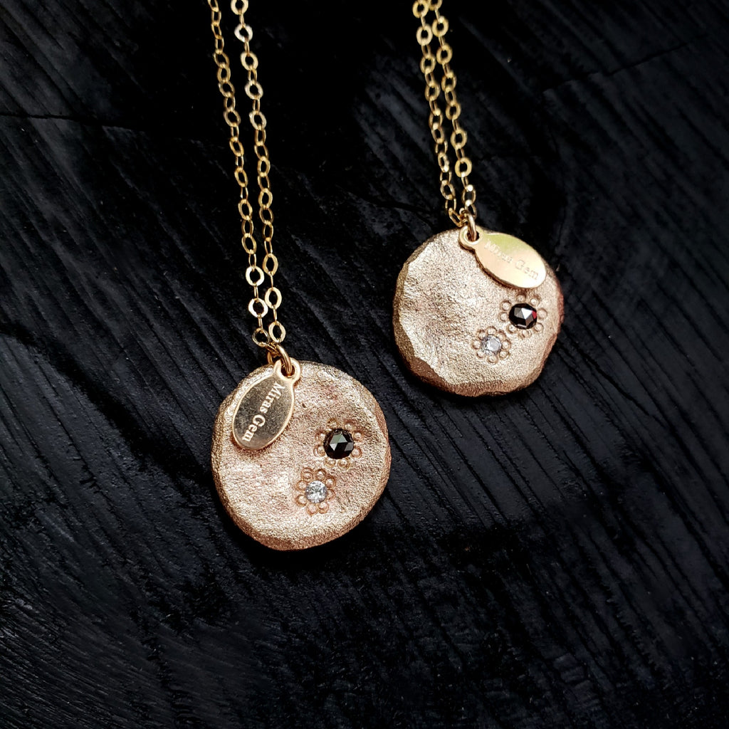 Natural Disc with Black Diamond Necklace