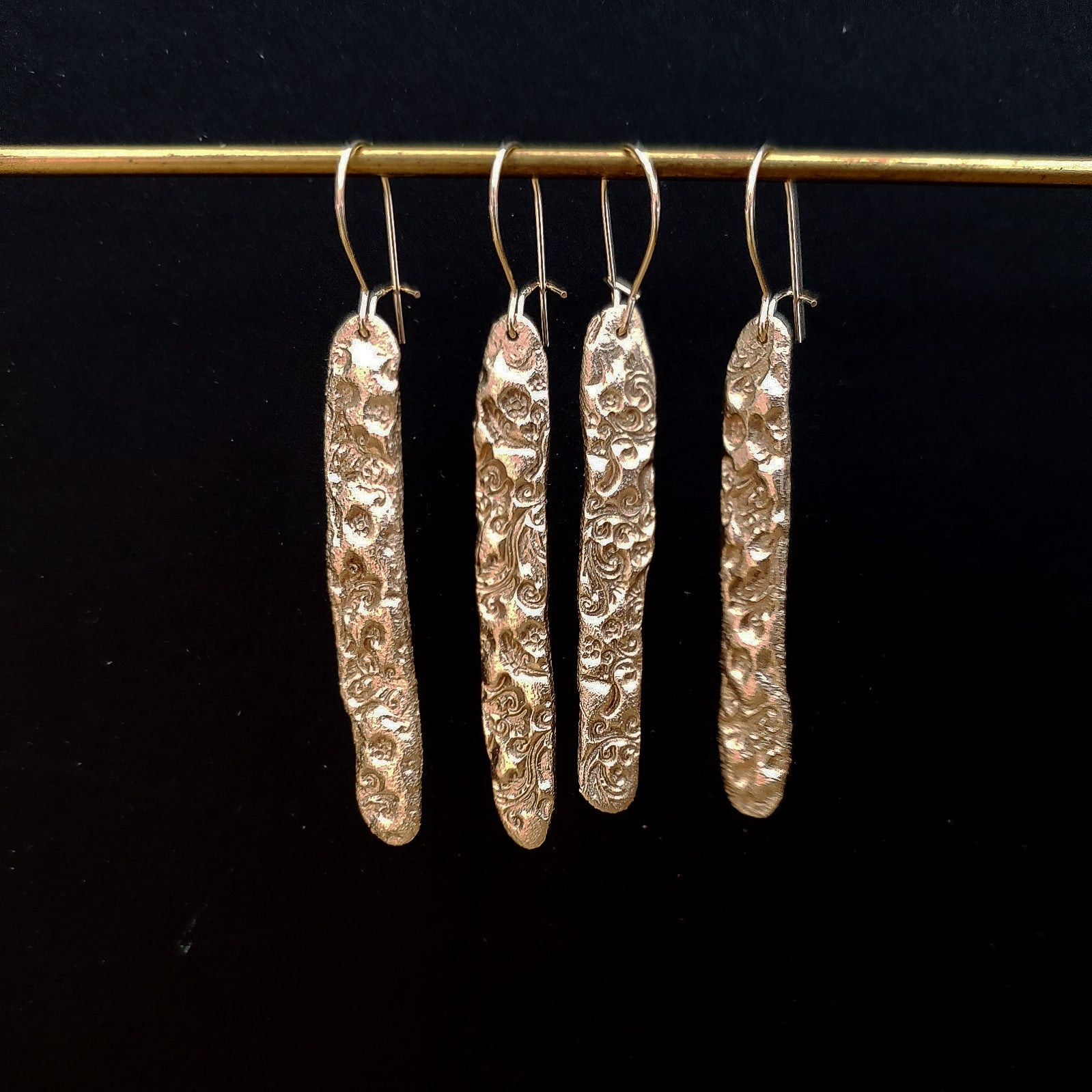 Bronze textured bar earrings