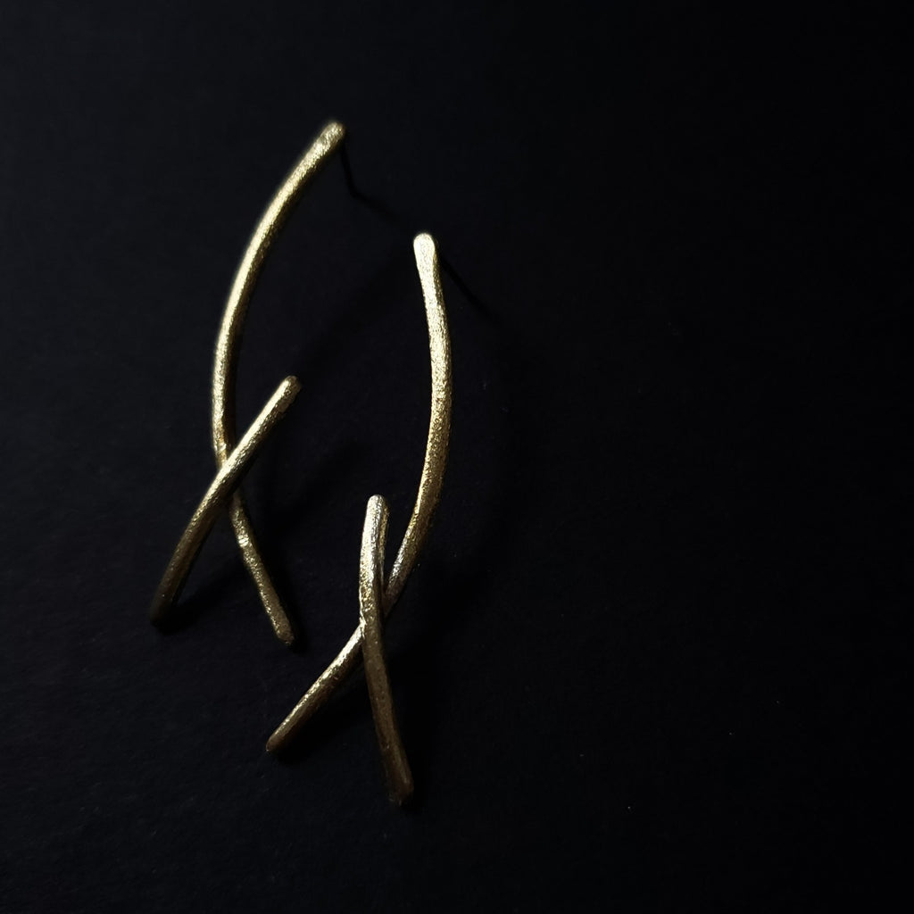 brass horn studs earrings