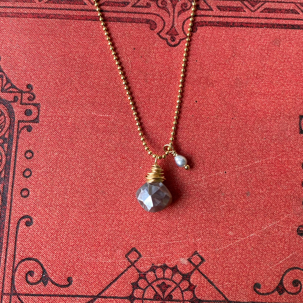 NEW Cluster Necklace in Chocolate Moonstone & Freshwater Pearl