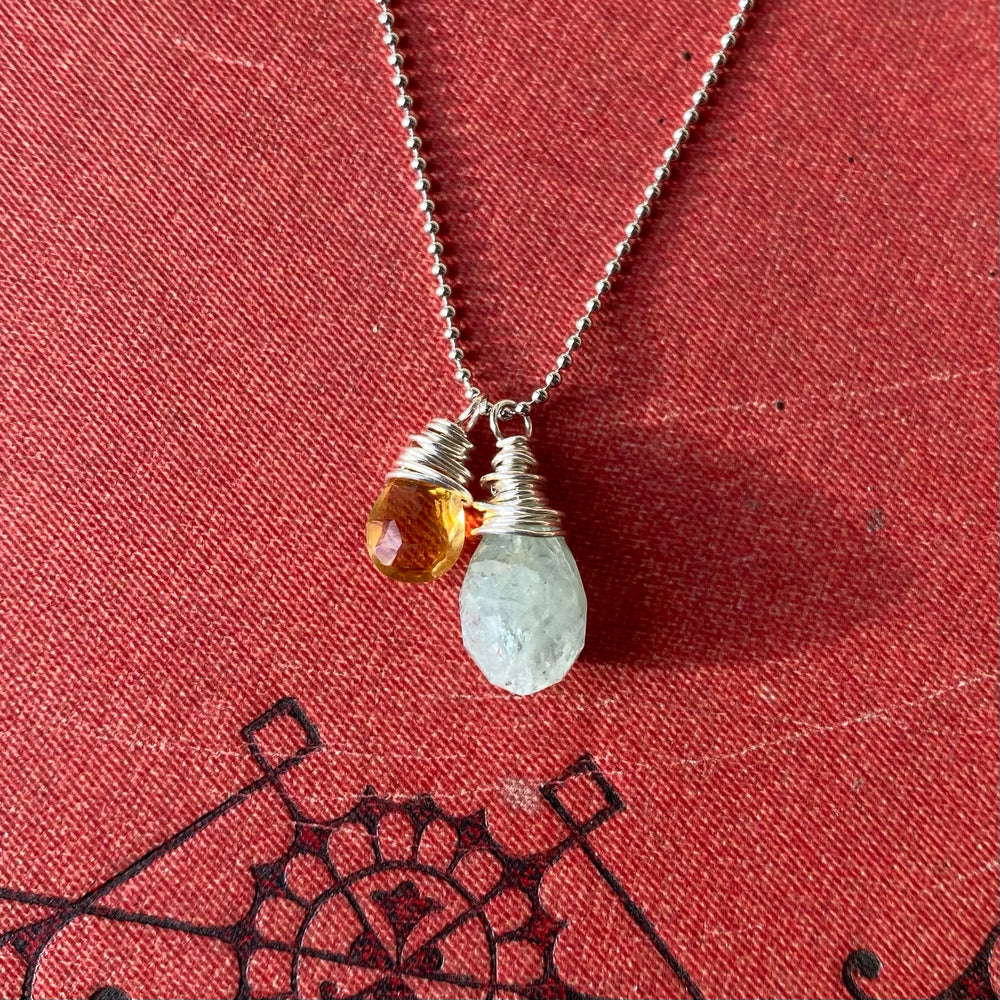 NEW Cluster Necklace in Aquamarine & Citrine