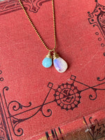 NEW Cluster Necklace in Moonstone & Larimar