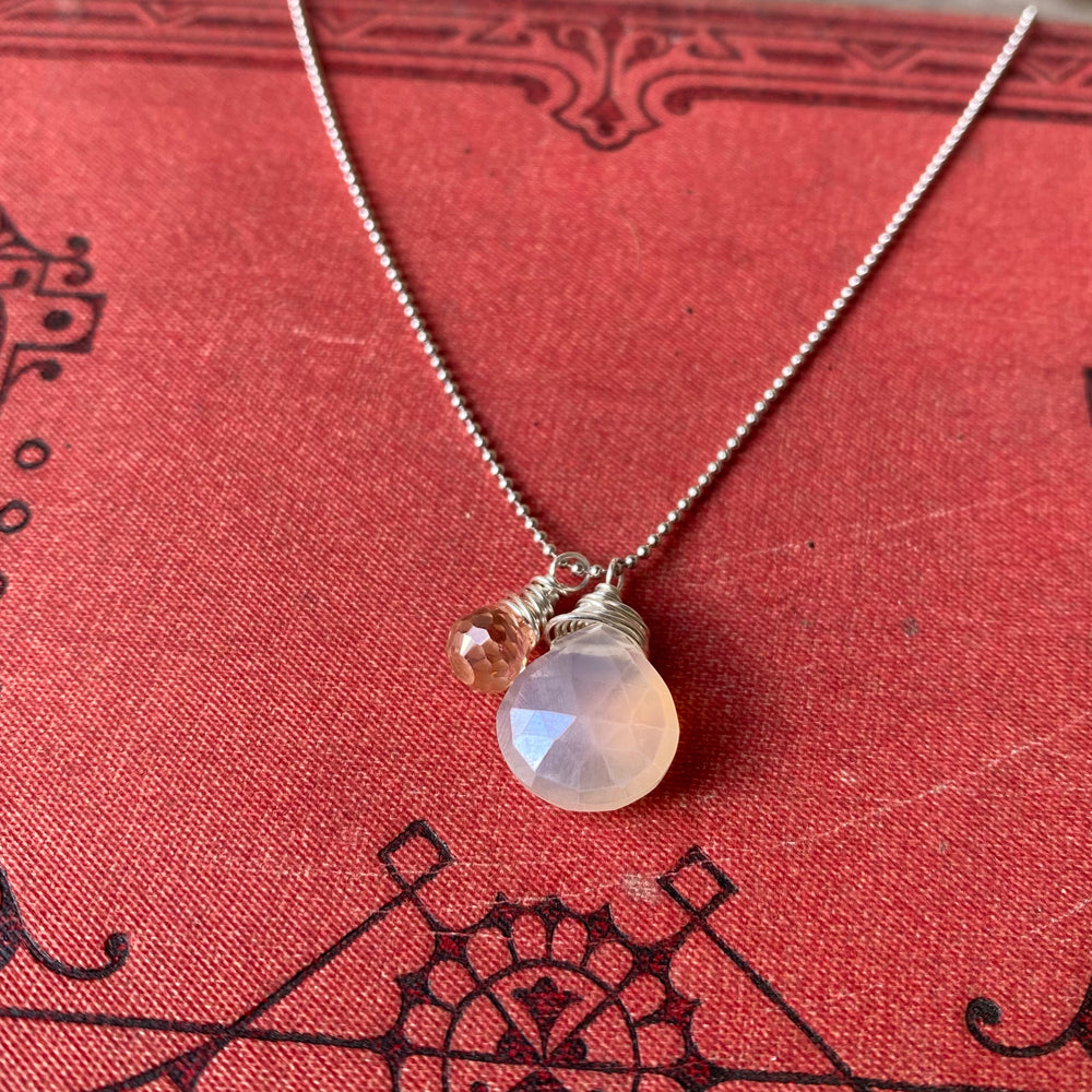NEW Cluster Necklace in Moonstone & Peachy Zircon