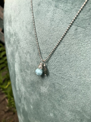 NEW Cluster Necklace in Larimar & Tourmaline