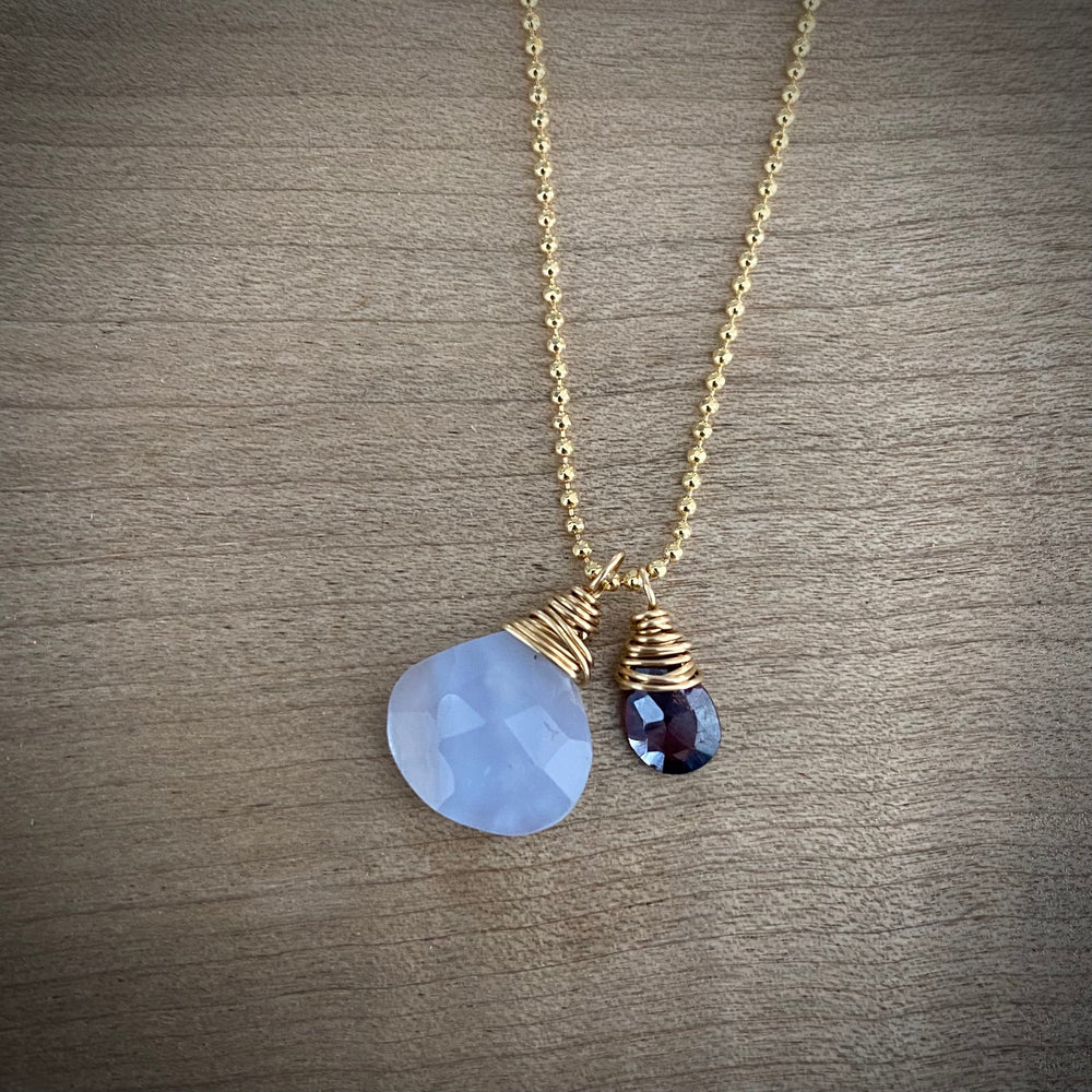 NEW Cluster Necklace in Blue Chalcedony & Garnet