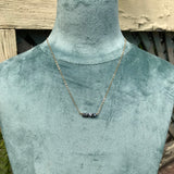 Crystal Bar Necklace in Coal
