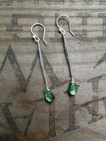 Green Labradorite Stick Earrings