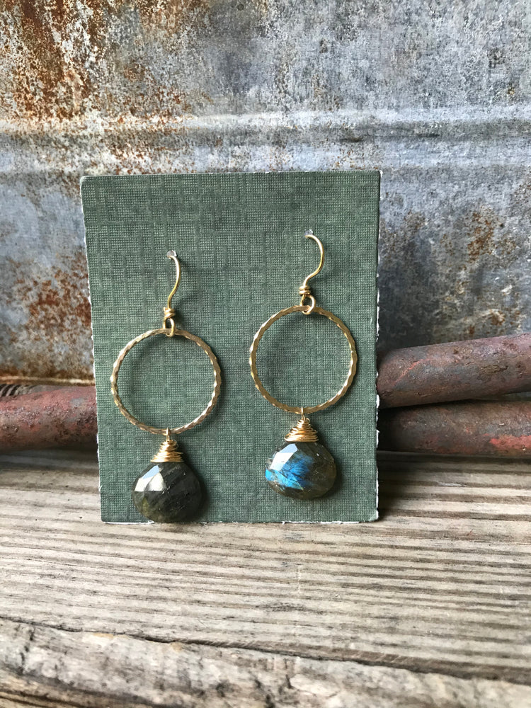 Circle Drop Earrings with Labradorite