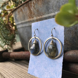 Halo Dangle Earrings with Labradorite