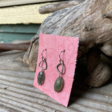 Triad Earrings with Green Labradorite