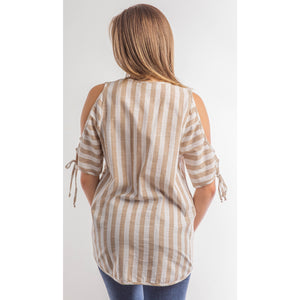 Cold Shoulder cut out top  BLUE or TAUPE