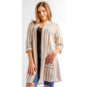 Free As A Bird Striped Duster (Blue or Taupe)