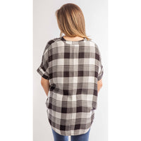 Easy Breezy Black & White Plaid Top