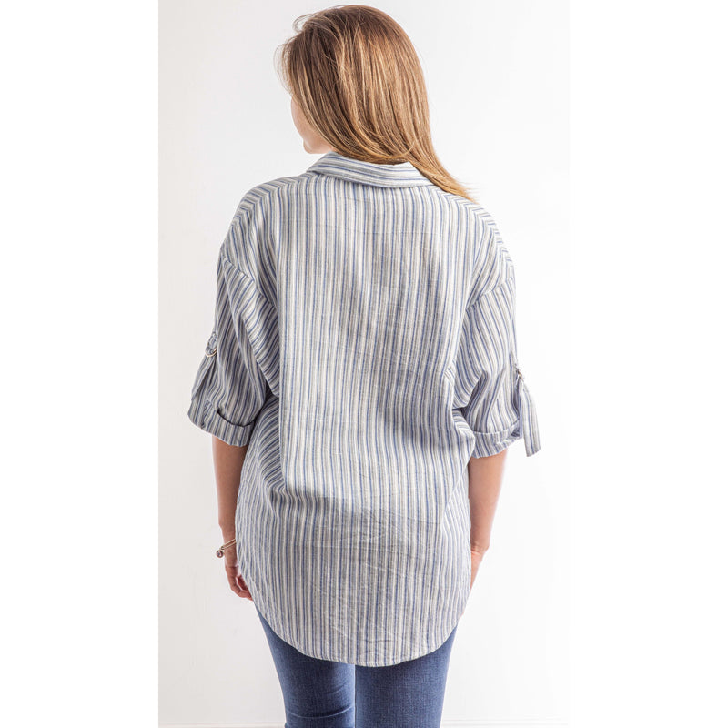 Anchors Away Blue & White Striped Top