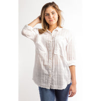 Peony Button-Down Long Sleeve Top