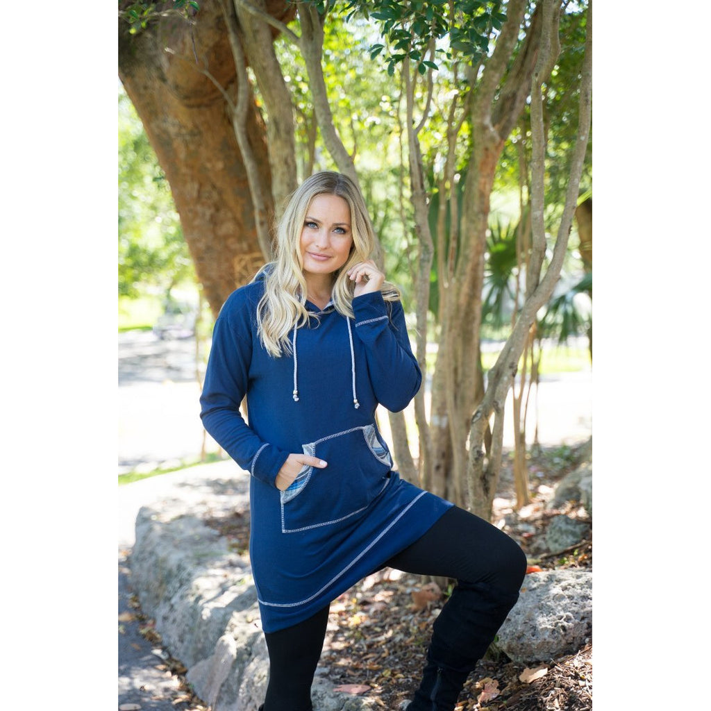 Navy Sweatshirt Dress