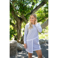 Heather gray dress with angle pocket & reverse fabric trim