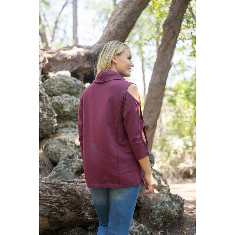 Cozy Chic tunic Burgundy