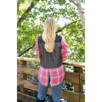 Black Denim with Pink Plaid