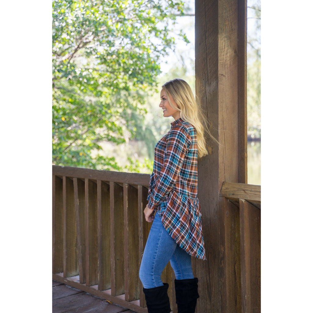 Brown and turquoise Plaid Hi-Low Tunic