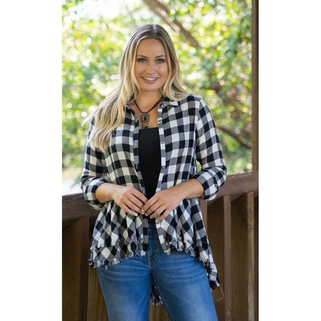 Black and white Plaid Hi-Low Tunic