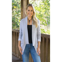 Heather Grey French Knit Cardigan