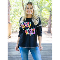 Love More hand inspirational Embroidered top